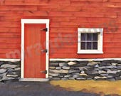 Red Barn Door Note Card
