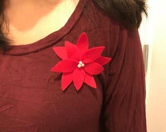 Christmas poinsettia pin, holiday pin, Christmas accessory, poinsettia, winter flower