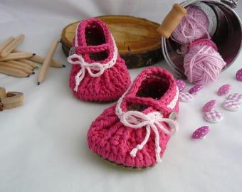 Crochet baby slippers ballerine newborn