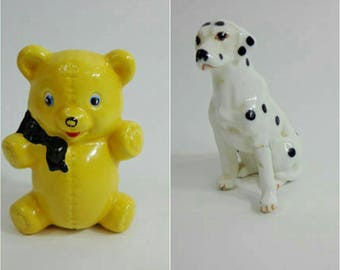 Rare Vintage Porcelain Figurines Yellow Teddy Bear or Dalmation Dog Mini Collectible Nostalgia Animal Mascot Knick Knack Chochki Retro 60s