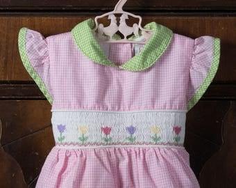 Vintage Youngland Smocked Dress, 18mo, Smocked, Easter Dress, Gingham, Tulips