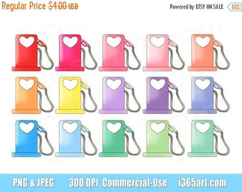 50% OFF Gas Pump Clipart, Fuel Icon Clip art, Gas Station, Hearts, Cute Gasoline, Refill, Planner, Reminders, Petrol, PNG, Commercial