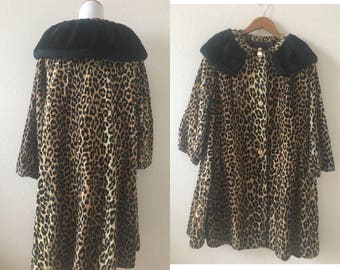 vintage 60's LEOPARD SWING COAT - small, medium