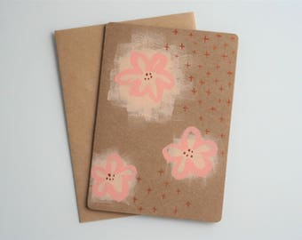 Hand Painted, Original Art, Hand Painted Card, Handmade Card, Unique Cards, Birthday Card, Abstract Art, Blank Card, Blossom, Floral, Copper