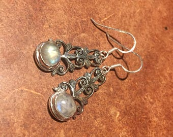 925 Silver Earrings with Moonstone Crystal