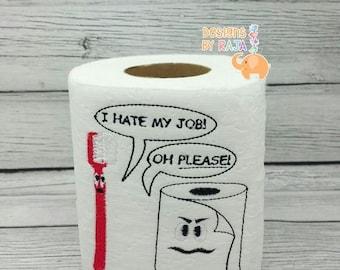ON SALE Toothbrush vs toilet paper embroidered toilet paper, birthday gift, dental hygienist, dentist funny gag gift, white elephant, bathro