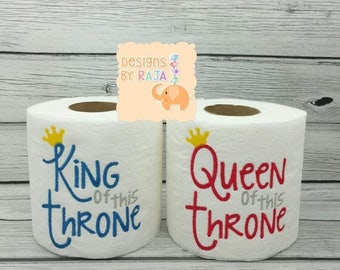 ON SALE King or Queen of the Throne embroidered toilet paper, gift for her, gift for him, funny gag gift, white elephant, bathroom decoratio