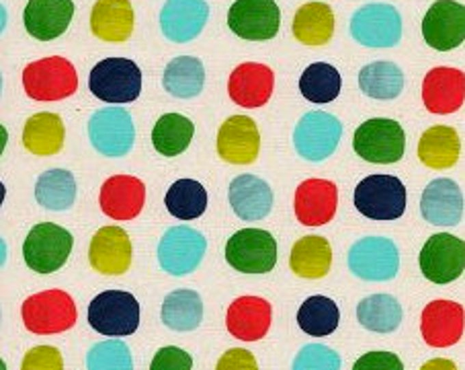 Painted Dots in Blue- Noel by Cotton and Steel- Holiday Fabric