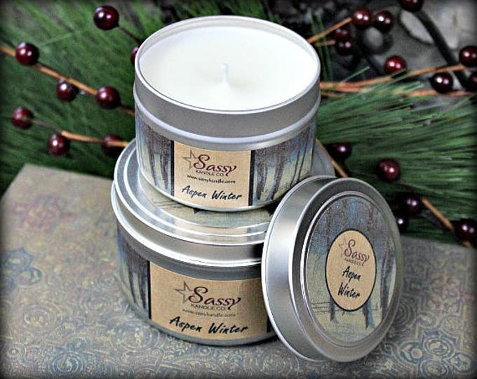ASPEN WINTER | Candle Tin (4 or 8 oz) | Sassy Kandle Co.
