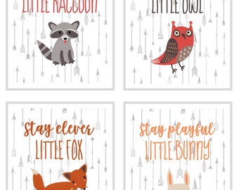Wall art print, Woodland wall art, set of 4 wall art, nursery decor