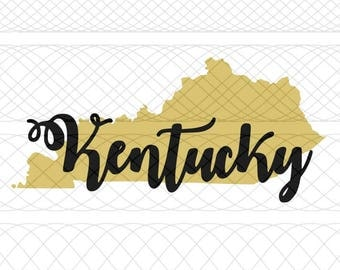 Kentucky State Outline and Script Name SVG, PNG, and STUDIO3 Cut Files for Silhouette Cameo/Portrait and Cricut Explore DIY Craft Cutters