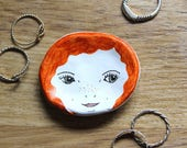 Handmade Illustrated Small Clay Face Dish. Jewellery/Ring/Trinket Dish. Ginger Hair/Red head. Quirky Gift.