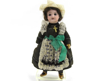Vintage SFBJ Paris 301 Girl Doll in Traditional Dress of Brittany French Bisque Head Doll SFBJ 301 5/0