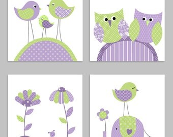 Baby Girl Nursery, Green and Purple Nursery, Girl Nursery Wall Art, Baby Girl Decor, Bird Nursery, Elephant Nursery, Owl Nursery, Flower Art