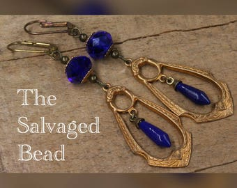 Antique Art Deco Gatsby Cobalt Blue Glass Drop Earrings, circa 1920's by The Salvaged Bead