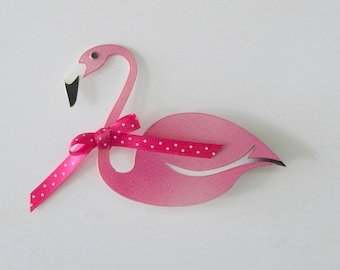 Flamingo with bow brooche