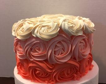 Multicolored Rosette Fake cake. Faux cake. 6 inches wide.