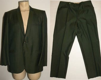 "Vintage Green Sharkskin Suit / 1960s MOD Men's Pants & Blazer / Jacket chest 44"" Pants W 33 - 34"" x L 27.75"""