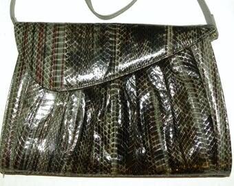 """1980s 80s J. Renee Snakeskin Shoulder Bag CLUTCH / Gray Burgundy Blue Leather Purse / Vintage / 11"""" x 7.75"""" x 1.5"""""""