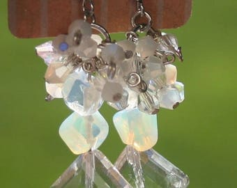 Genuine Moonstone Swarovski Crystal Earrings