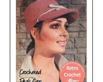 1960s Peak Cap Vintage Crochet Pattern - PDF Instant Download