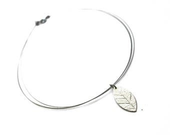 Organic ilver leaf necklace, hand sculpted art clay silver leaf, stainless steel finishing, beadalon wire, organic silver, art clay, leaf