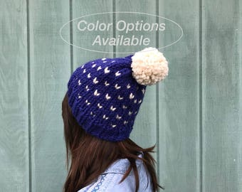 Custom color option knit heart beanie, chunky beanie, winter hat with pompom, knitted beanie, knit chunky hat, slouchy knit womans beanie