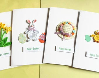 Easter cards, Easter card set, happy Easter cards, quilled cards, handmade cards, Easter greeting cards, happy Easter, Easter egg cards