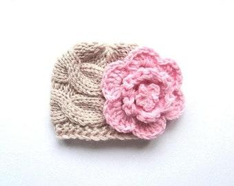 10% DISCOUNT SALE Newborn Baby Girl Hat , Baby Hat Photo Prop , Knit Baby Hat , Crochet Flower Hat ,Photo Prop