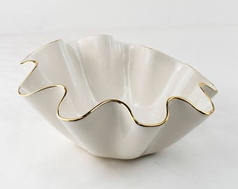 Size C- Medium wavy shaped handmade ceramic bowl with 22K gold luster edges, wedding Gift, serving bowl