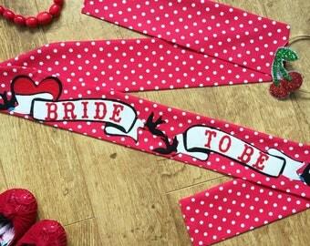 Vintage hen sash, vintage bachelorette sash, rockabilly Bride to Be sash, Hen Party Sash,  vintage bridal shower sash
