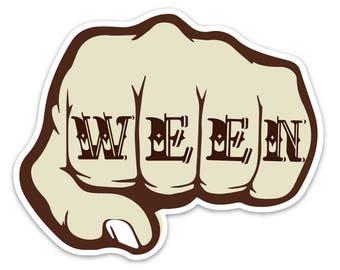 Ween Knuckle Tattoo Sticker (3.5 x 4.35 inch)