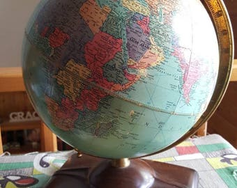 Vintage 1955 Reploge 10 Inch Precision Globe with World Atlas Book  C810