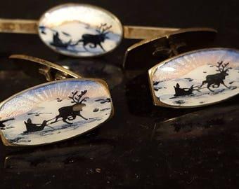 Askel sled scene enamel sterling hinge back vintage antique cufflinks tie bar W5