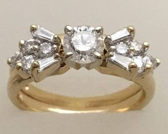 Diamond and 14kt gold bridal set. One ct. total diamond weight