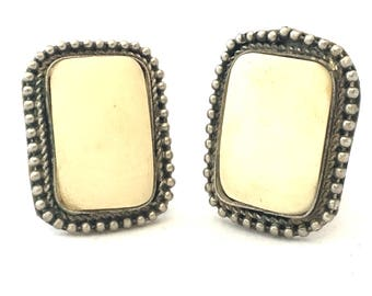 Vintage Silver and Bone Clip On Earrings, Rectangular Bead Edge Large Tribal Earrings, Set Inlaid Bone Etruscan Style Jewelry