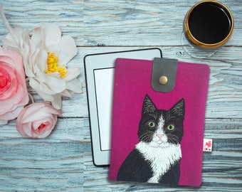 Cat iPad mini case - Harris Tweed case - tablet case - kindle case - iPad mini sleeve - cat gift - valentine gift - cat lover
