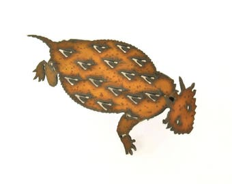 Horned Toad Origami Folded Rusted Metal Figurine