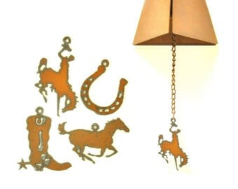 Rusty Wind Chime With Western Themed Charm Assortment