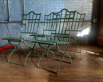 Antique Green Garden Folding Chairs Outdoor Industrial Vntg Patio Set of 4