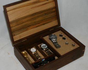 Men's combination Valet Box and Watch box - Walnut with an ambrosia maple top #509 - sliding tray  - leather lined