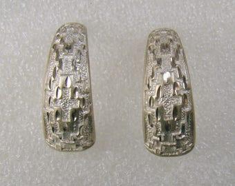 Flashy Sterling Diamond Cut Semi-Hoop Pierced Earrings