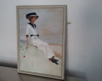 Vintage Oil Painting of a Girl on a Rock