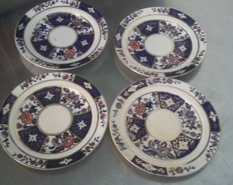 4 Vintage Victorian Blue Gold and Red Side Tea Sandwich Plates
