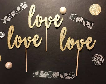 Love Cupcake Toppers/ wedding cupcake toppers/ valentine's day cupcake toppers/ bridal shower cupcake toppers/ bachelorette cupcake toppers