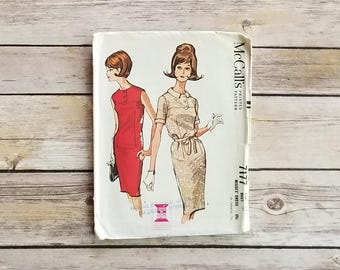 Regal Dress Fancy Woman's Pattern Retro Office Outfit McCalls 7177 Dinner Dress Sleeveless Dress Short Sleeved Slim Dress 60s Sewing Pattern