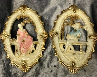 Vintage Wall Hangings - His and Hers - Bard and Muse - Cast Plaster - 1960s