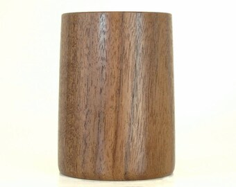 Wooden Pencil Cup Pen Holder Handcrafted in Walnut
