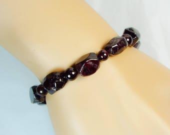 "Cynthia Lynn ""SWEET POMEGRANATE"" January Birthstone Deep Red Garnet Nugget Beaded Stretch Bracelet"