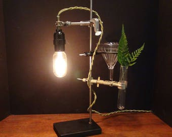 Industrial Desk Lamp with Funnel and Test Tube Vase, Lab Stand Lamp, Industrial Lamp, Laboratory, Edison Bulb, Lab Equipment